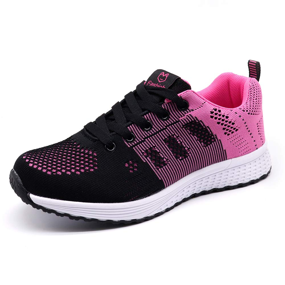 STQ Women Walking Shoes Breathable lace up Comfortable Gym Trainers Sneakers(A08hong36) Black Rose