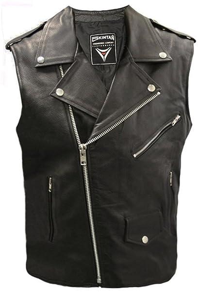 cbe17b03753cd Mens Real Genuine Leather Full Grain Cowhide Plain Brando Motorcycle Biker  Gilet Waistcoat Cut Off Classic ...