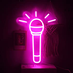 ineonlife Microphone Shaped Neon Signs Pink Microphone Neon Light Led Neon Sign 16''x12'' On Air Neon Wall Lights for Bedroom Recording Studio Bar Karaoke Home Party Birthday Decoration