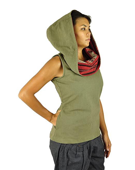virblatt Talla única Blusa Mangas con Capucha Hecha de algodón Vestimenta Alternativa para Mujeres Tejida a