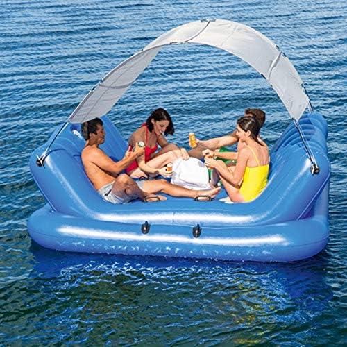 aufblasbares Sommerfest-Loungespielzeug FGKING Aufblasbare Schwimminsel Mehrzweck-Schwimmbecken f/ür 6-8 Personen extra gro/ße Schwimmliege f/ür Pool oder See