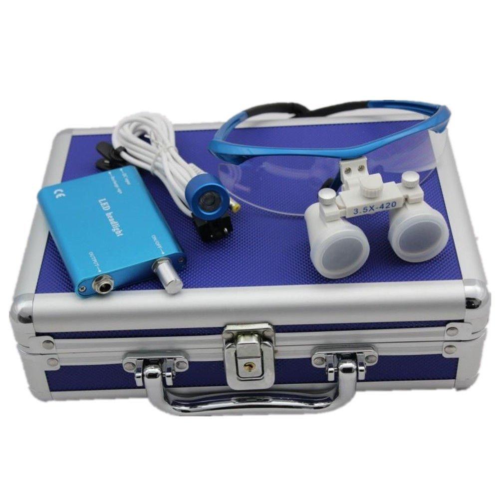 Dental Power Dental Binocular Loupes 3.5X 420mm + LED Head Light Lamp +Aluminum Box (Blue) by Dental Power