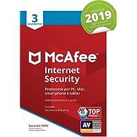 McAfee Internet Security 2019 | 3 Dispositivi | Abbonamento di 1 anno | PC/Mac/Smartphone/Tablet | Codice di attivazione via mail