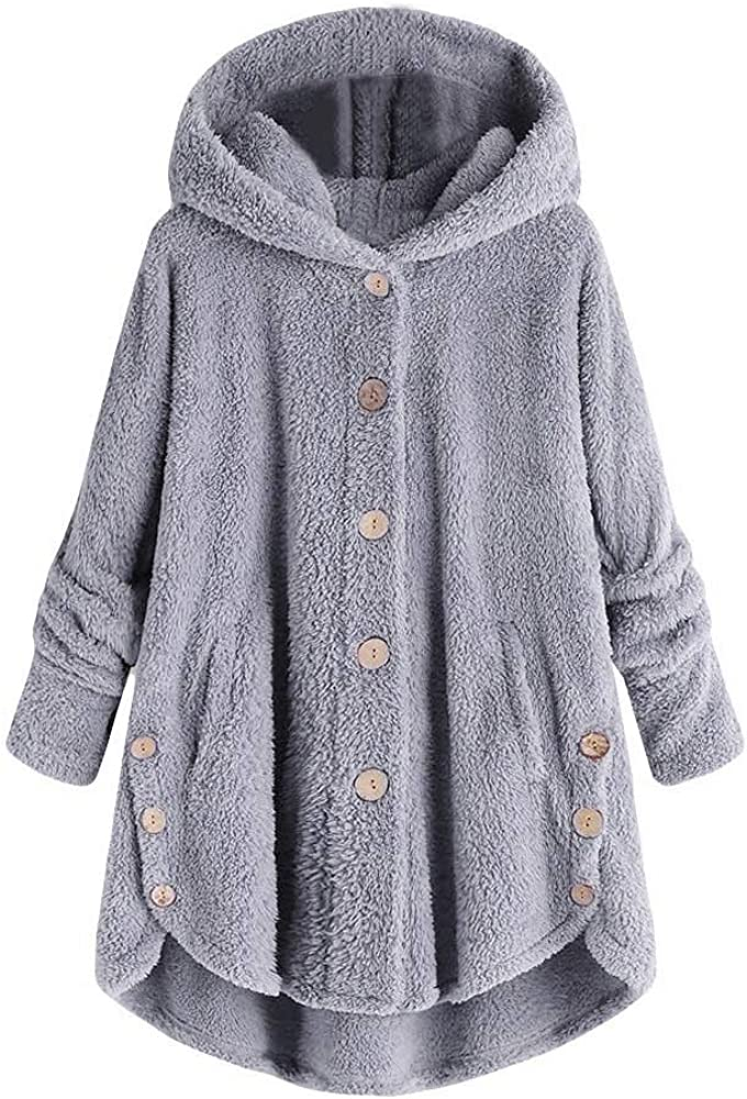 Womens Cotton Fluffy Hooded Coat Plain Button Down Cardigan Ladies Winter Warm Casual Long Baggy Outwear Viahwyt