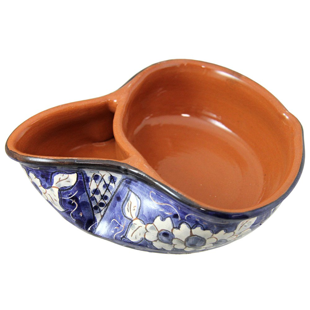 Hand Painted Vintage Traditional Portuguese Terracotta Olive Dish (Big, Blue And White)