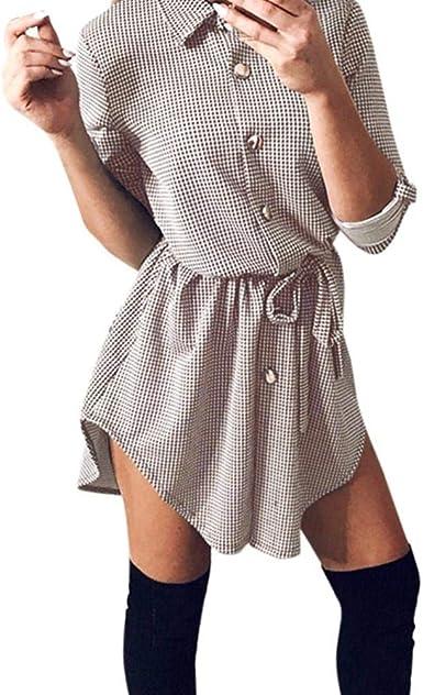 Glaiidy Vestido A Cuadros De Mujer Camisa De Manga Larga Vestido Camisero Vestido De Blusa Vestido A Cuadros Camisa De Manga Larga con Cinturón De Mujer Cuello En V Manga Larga C: