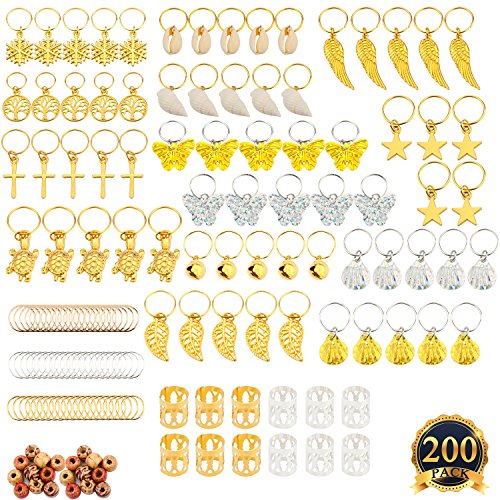 SUBANG 200 Count Coil Dreadlocks Including 110 Aluminum Dreadlocks Beads Metal Cuffs 70 Pieces Decoration Braiding Hair Clip Hair Jewelry Assorted Pattern,20 Wooden Beads,(20 designs)