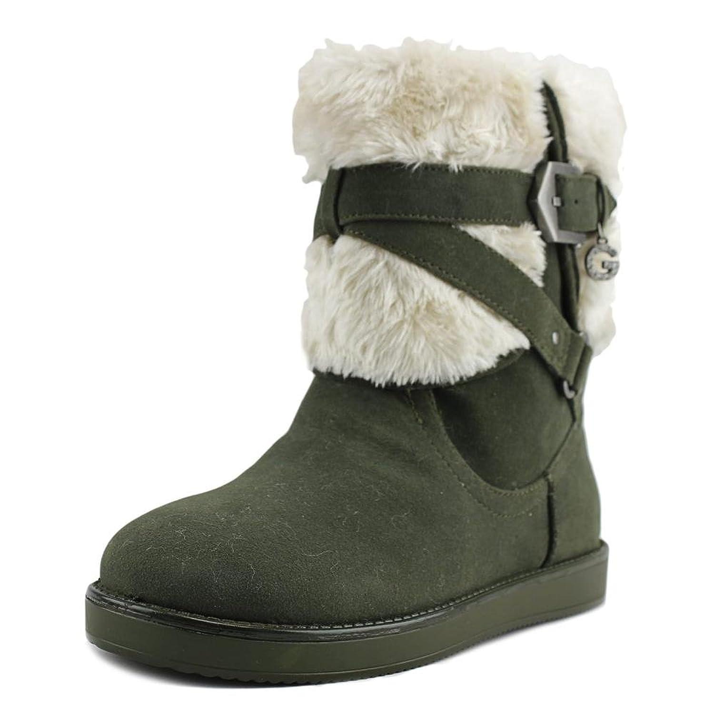 G by GUESS Alixa Women Round Toe Faux Fur Green Winter Boot