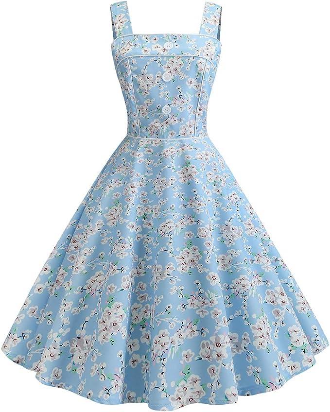 WFRAU damska sukienka koktajlowa w stylu retro, lata 50., z 3 przyciskami, kwadratowy kołnierz, styl vintage, na wieczÓr, bal, bal, bal, swing, na imprezę, formalne ubranie: Odzież