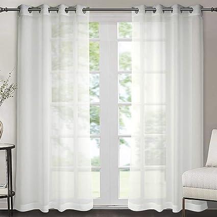 singinglory lot de 2 rideaux voilages blanc en effet lin panneau voile a oeillets de fenetre avec embrasse a rideau 140x245cm blanc