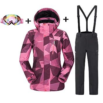 DUBAOBAO Pantalones de Chaqueta de Traje de esquí para Mujer ...