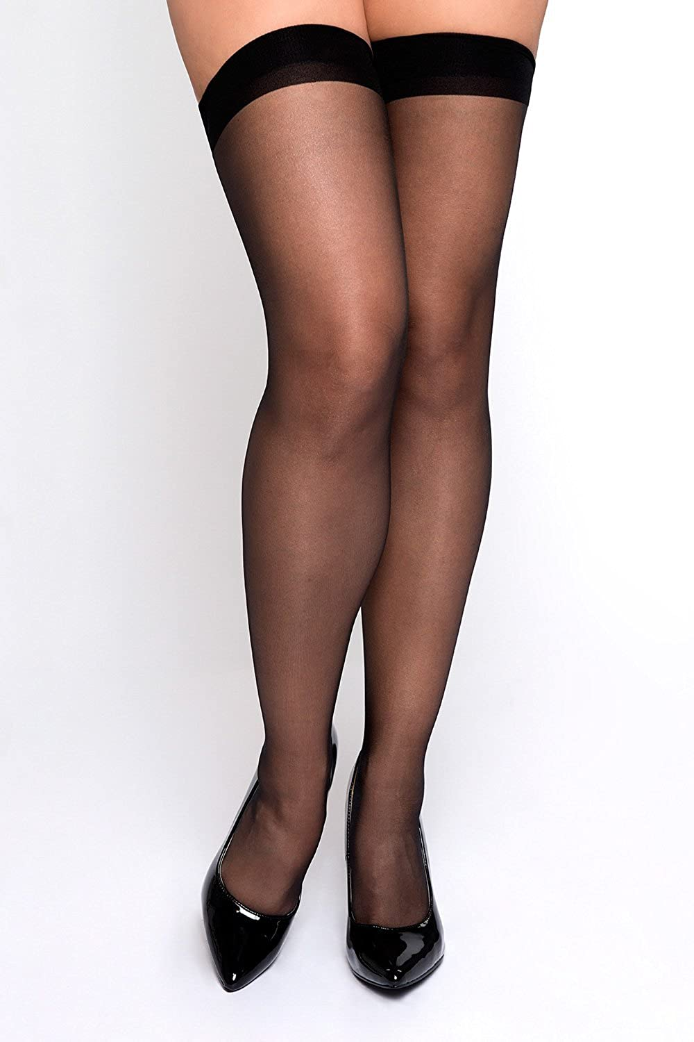 PARK AVENUE Sheer Nylon Stockings with Back Seam Queen Size