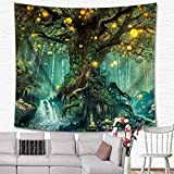 KRWHTS Magical Love Tree of Life Tapestry Wall Hanging Psychedelic Forest in Star Moon Night