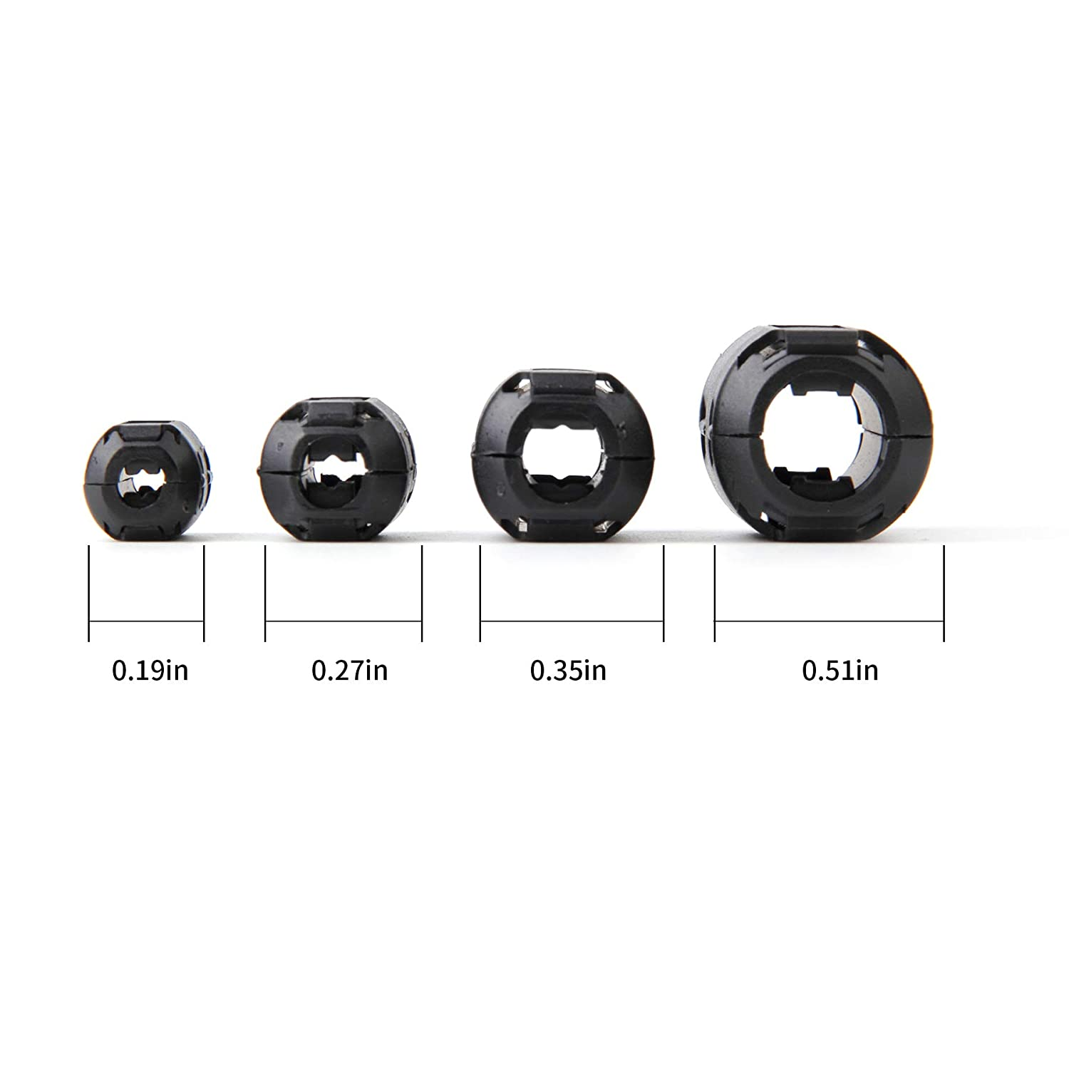 Ferrite Ring Core Black RFI EMI Noise Suppressor Cable Clip-20Pcs JIAKAI