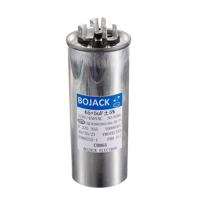 Amazon.com: BOJACK 65+5uF 65/5MFD ±5% 370V/440V CBB65 ...