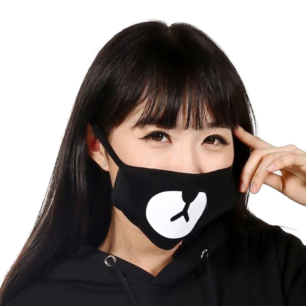Bape Mask,Aniwon 5 Pack Ayo and Teo Face Mask Anti Dust Cotton Black Mask EXO Mouth Mask Kpop Mask for Kids by Aniwon (Image #3)
