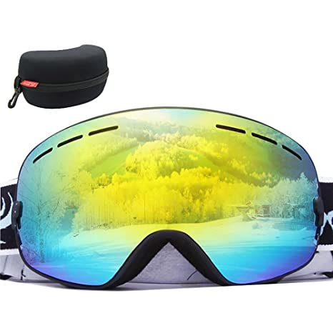 3a53a549ce6 KOBWA Winter Outdoor Ski Goggles Snow Sports Snowmobile Snowboard Goggles  with Anti-Fog 100%