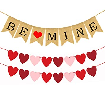 Valentines day banner. Banners be mine burlap