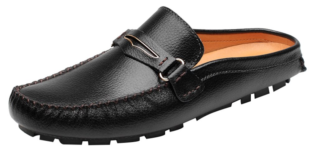 Abby 3238 Mens Moccasins Clogs Casual Slip-on Open Back Leather Black US M Size9.5