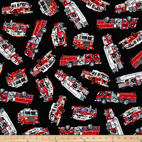 - Timeless Treasures Rescue Tossed Fire Engines Black Fabric by The Yard