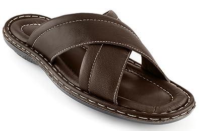 fb6e64afe06a Men s Sandals Top Grain Leather Soft Cushion Footbed - X Design Brown 7