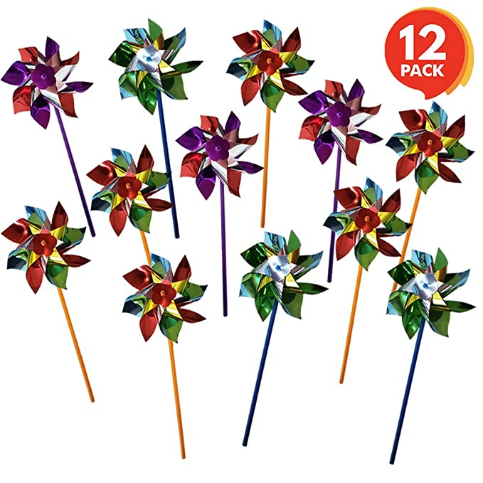 ArtCreativity 6 Inch Pinwheels Set - Pack of 12 - Assorted Colors - Fun Carnival Toy and Party Favor - Yard, Garden Spinning Windmill - Amazing Gift Idea for Boys and Girls Ages 3+