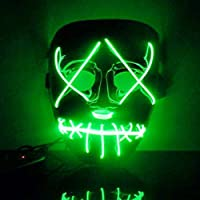 Leezo Frightening Halloween Mask Cosplay LED Light up Mask for Festival Party Black