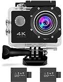 (ビアンウィア)Beownwear アクションカメラ 4K カメラ WIFI搭載 フルHD 1080P HDMI出力 ウェアラブルカメラ 170度広角 2インチ液晶モニター 30m防水 スポーツカメラ アクセサリーx18個と1050mAh電池x2つ付 車/バイク/自転車も取り付け可能 (黒)