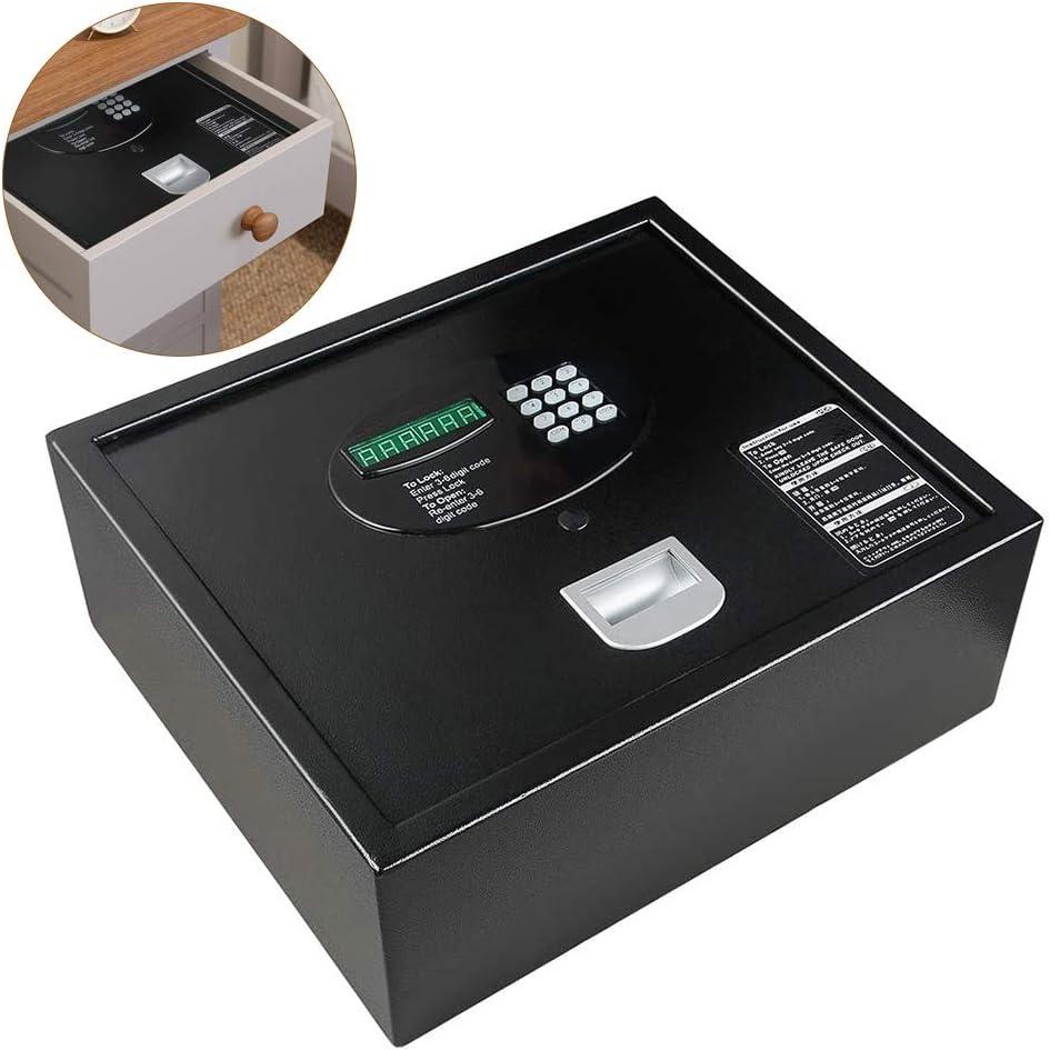Caja Fuerte Empotrable Cajón seguro para el hogar de la oficina del dormitorio, cajas de seguridad de apertura superior pequeña para documentos A4 Documentos portátil, negro, 41 × 35 × 15 cm: