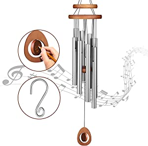 Homemaxs Wind Chimes for Outside Large Deep Tone, 38 Inch Large Memorial Wind Chimes with 8 Tubes & Rotatable DIY Pendants, Best Gift Wind Chimes for Outside Garden Patio Decor(Silver)