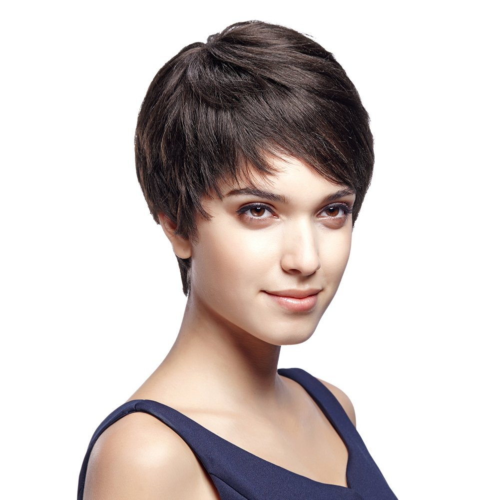 5'' Cute Short Pixie Wigs with 100% Brazilian Hair (DARK BROWN, Side Swept Bangs) - Pixie Cut Wigs for White Women - Human Hair Wigs Caucasian Wigs - Short Straight Wig Beauty Personal Care