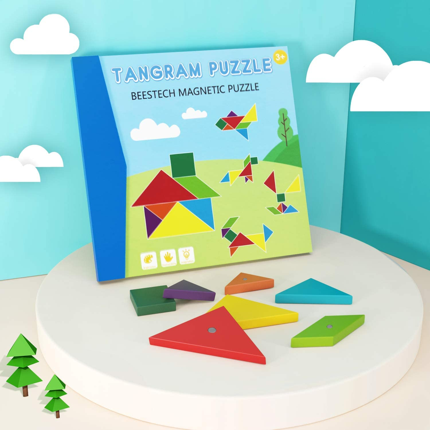 Plane or Take Out for Restaurant Conikus Wooden Pattern Tangram Magnetic Puzzle,Wooden Tangram Puzzle Book Toys for 3 4 5 6 7 8 Year Old Boys and Girls,Travel Games for Kids in Car