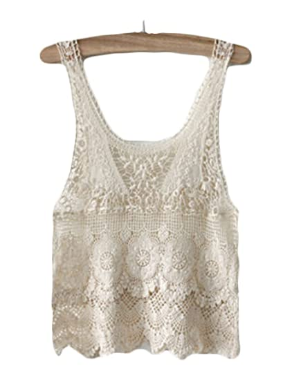56569e62f8 Women s Floral Lace Boho Crochet Hollow Out Sleeveless Cami Tank Top Vest  Casual Blouse Shirts Tops at Amazon Women s Clothing store