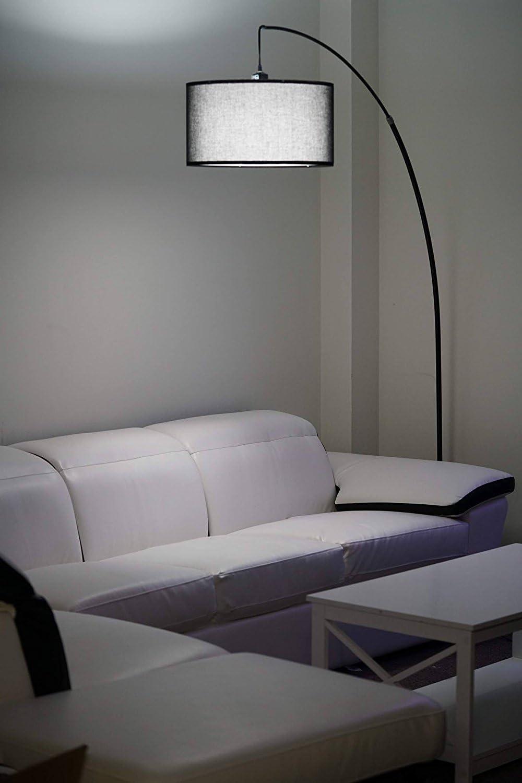 63H Major-Q 6231F Brushed Steel Floor Lamp,Remote Control Outlet
