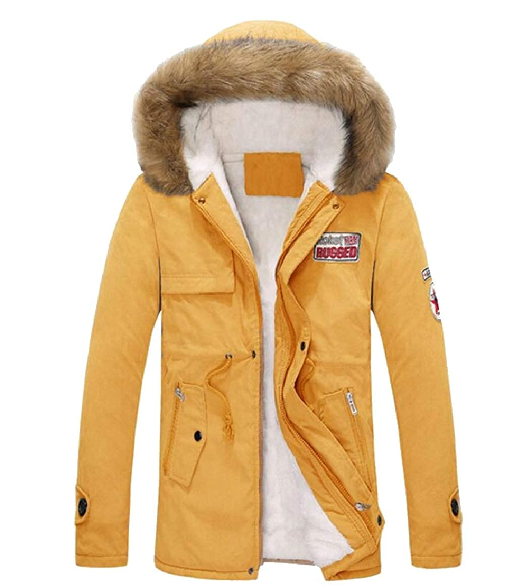 Yellow pujingge-CA Men's Fashion Fashion Fashion Faux Fur Lined Warm Coats Thicken Hooded Outwear Jackets ec9400