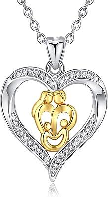 Argent sterling M/ère et enfant Amour C/œur Oxyde de zircon Pendentif Collier