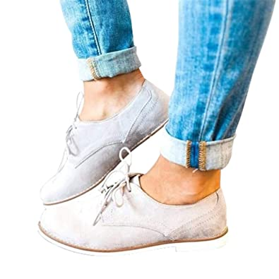 Juqilu Las Mujeres de Moda de Encaje hasta Talones Planos Talones de Gamuza Botines de Cuero Vestido Diario Retro Brogues Zapatos señoras Ocio Solo Zapatos: ...