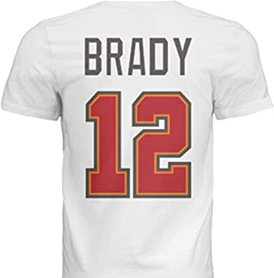 NWT New Brady #12 Tampa Bay Red Custom Football T-Shirt Jersey No Logos Mens