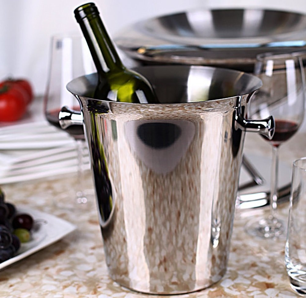 Champagne Bucket Ice Bucket Wine Beer Ice Container Wine Cloder Stainless Steel Silver (Color : Silver ear)