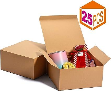 Switory Cajas de Regalo de 25 Piezas con Tapas, 20x20x10cm Cajas de Regalo de Papel Kraft para Hacer Manualidades, Magdalenas, Cajas de cartón para propuestas de Dama de Honor: Amazon.es: Oficina y