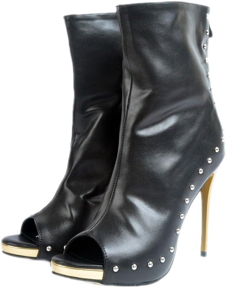 CASSOCK Womens High Heel Boots Rivets Spikes Peep-Toe Autumn Fashion Booties Shoes
