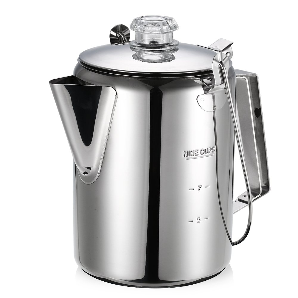 Lixada Outdoor 9 Cup Stainless Steel Percolator Coffee Pot Coffee Maker for Camping Home Kitchen