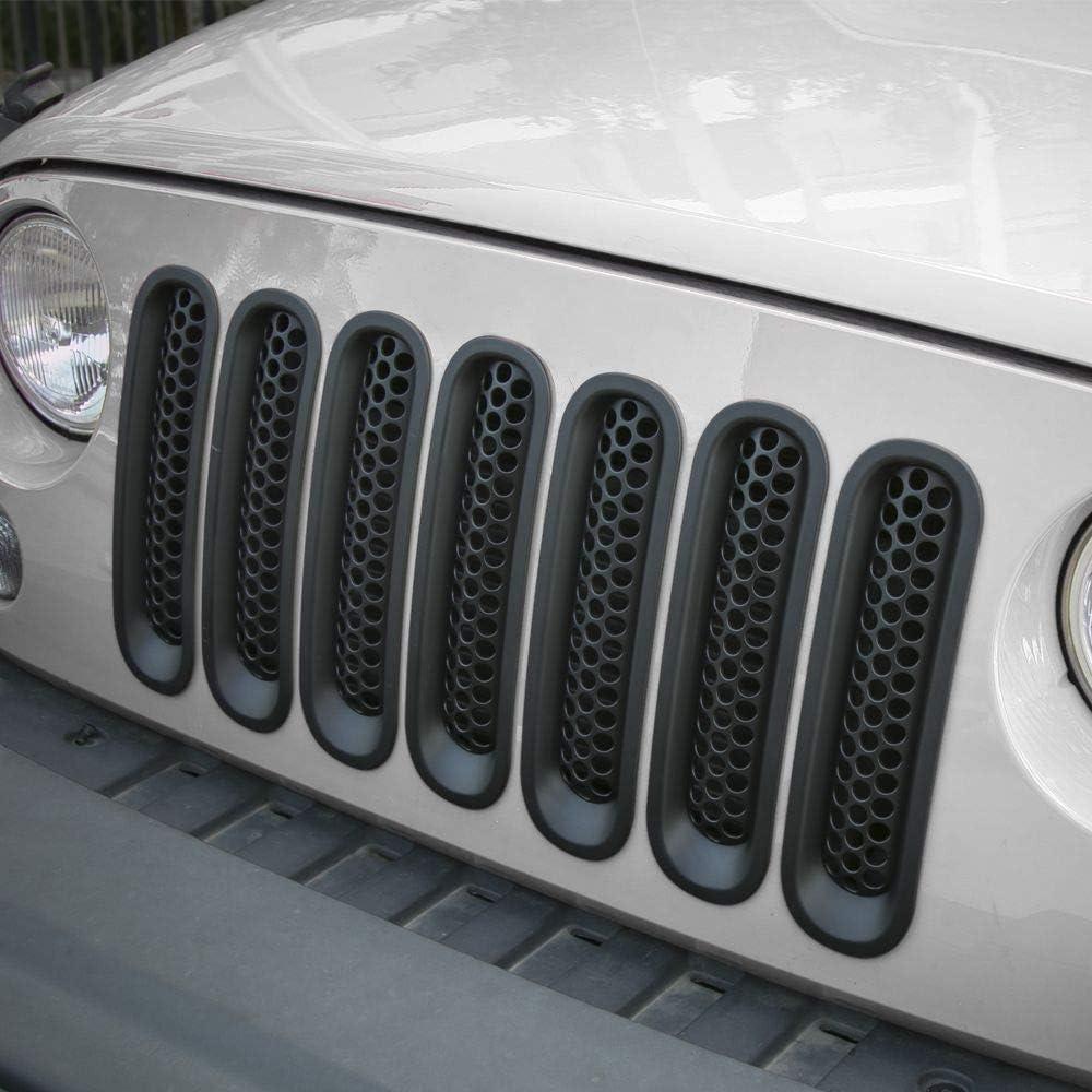 Matte Black RT-TCZ Upgrade Version Clip-on Grille Front Mesh Grille Inserts for Jeep Wrangler 2007-2015