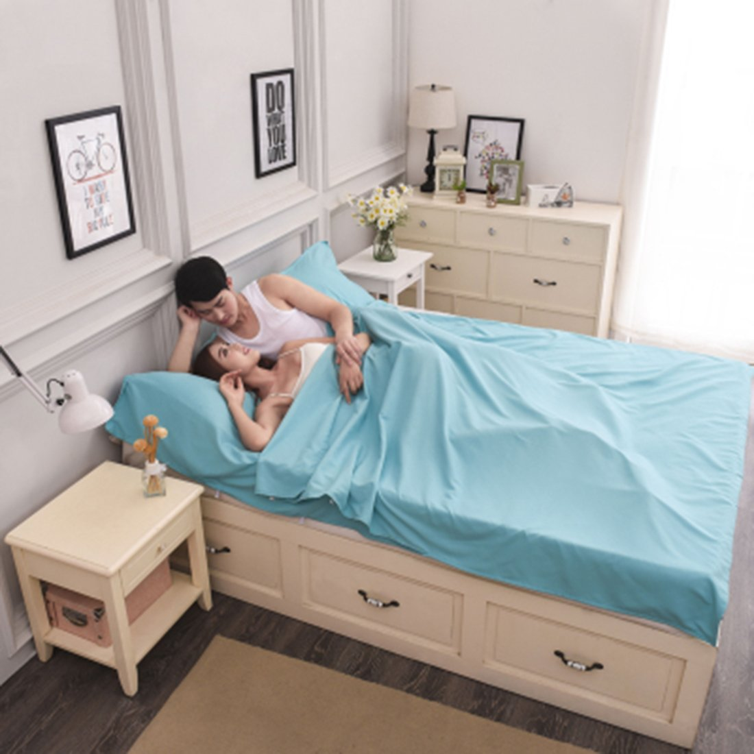 LINGJUN Durable y Hoja de Super Suave Viaje//Saco de Dormir//Saco de Dormir Liner con Bolsillos Funda de Almohada para Cama de Camping Bolsa Sky Blue-Double