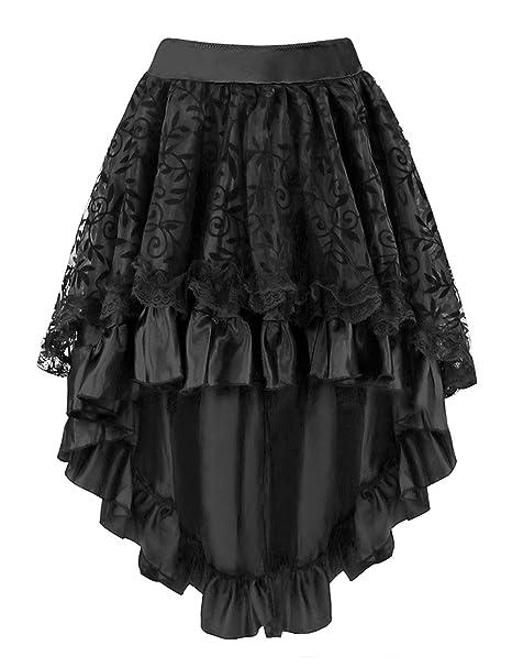 Falda asimétrica Burvogue, con corsé, para mujer de estilo steampunk Negro negro Small