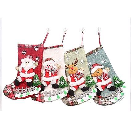 HAPPYWINTER 4 Unids Encantador Medias de Navidad Regalos de Tela de Santa Claus Elk Calcetines Dulces