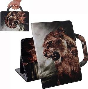 Bestcatgift [Fashion Handbag PU Leather Galaxy Tab A 9.7 Flip Wallet Funda [Painting Series] Tablet Folio Wallet Cover para Samsung Tab A 9.7 Inch SM-T550 - Lion