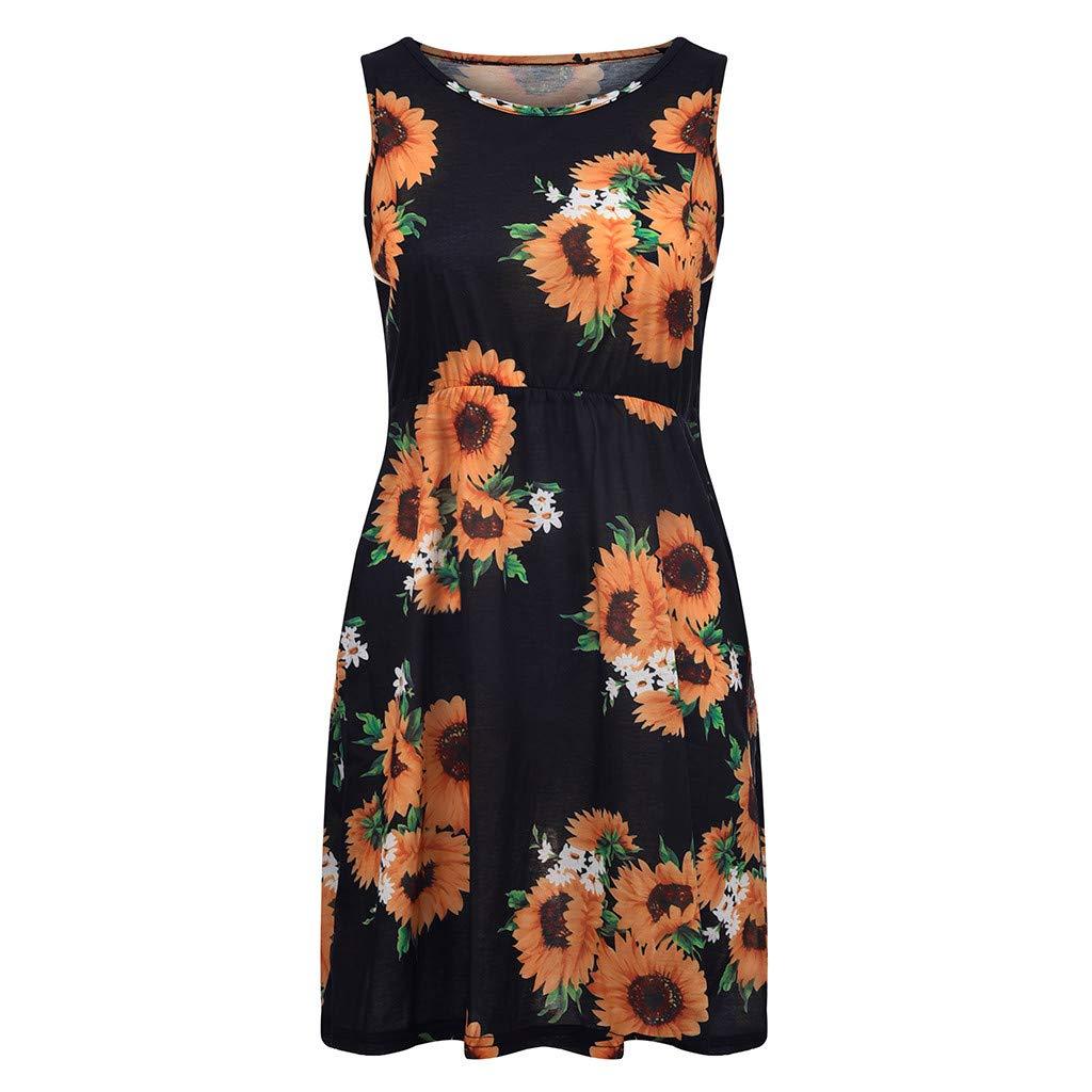 FAPIZI New Summer Fashion Women Side Pocket Casual Party Banquet Mini Dress Sleeveless Print Mini Dress