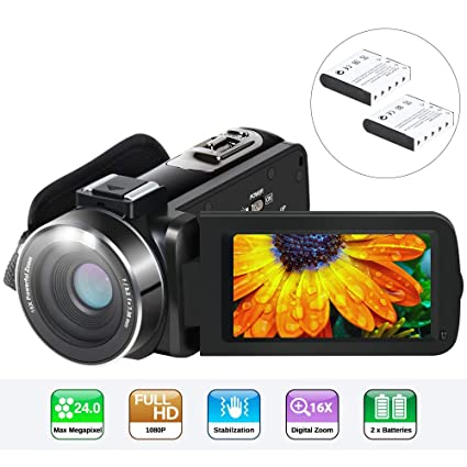 Video Camera Camcorder, Aabeloy YouTube Vlogging Camera HD 1080P 24 0MP 3 0  Inch LCD 270 Degrees Rotatable Screen 16X Digital Zoom Pause Function