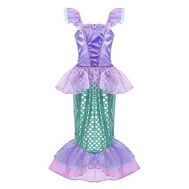 4071481dc4a Alvivi Déguisement de sirène Filles Princesse Robes Déguisement pour  Enfants Cosplay Petite Sirène Dress Halloween Partie Cosplay Costume 3-10  Ans  ...